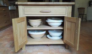 Oak kitchen island handmade in France