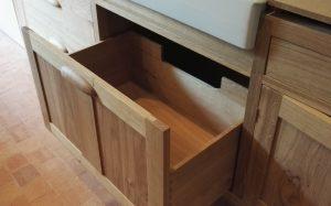 Soft close oak bin drawers under sink