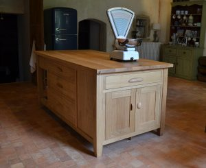 Oak kitchen island with weighing scales