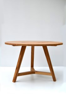 Round oak dining table handmade