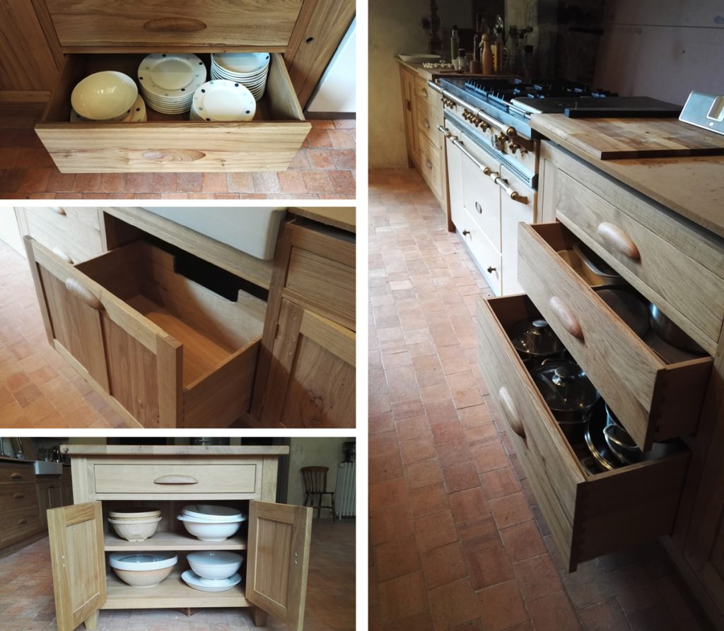 Bespoke kitchen oak cupboards and storage by Makers