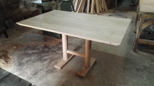 Small bespoke oak dining table with turned legs