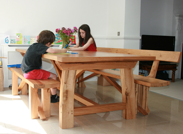 Handmade oak dining table