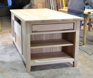 bespoke kitchen island in progress in the makers workshop