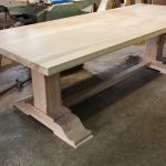 Oak pedestal refectory table handmade