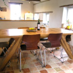 Bespoke-oak-dining-table-with arched-legs