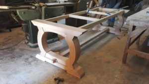 Handmade oak table base with curved ends