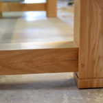 Leg detail on oak beam dining table