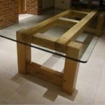 Bespoke glass top table with oak base