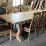 Refectory table and chairs in the workshop