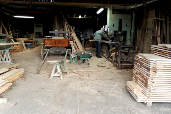 Furniture makers visiting a sawmill in France