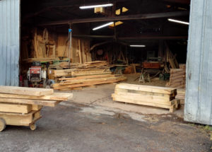 Open back door of the French sawmill