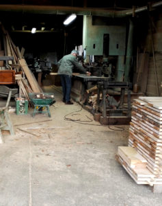 Furniture maker at a French sawmill