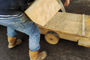 Trolley to help carry large pieces of oak at the sawmill