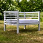 Handmade oak garden seat painted French grey