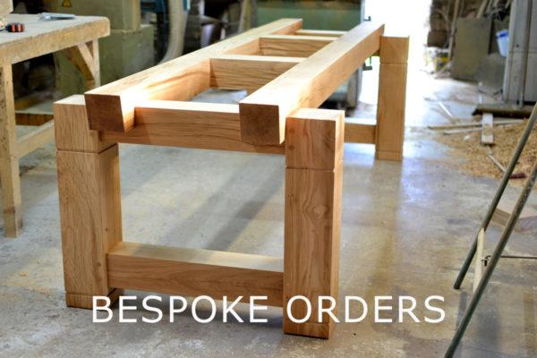 Bespoke oak furniture oak table base in the workshop