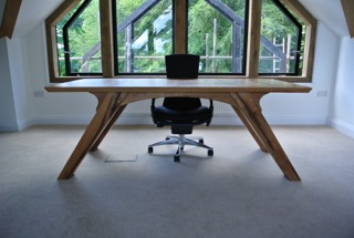 Bespoke office desk handmade for a client in Cornwall