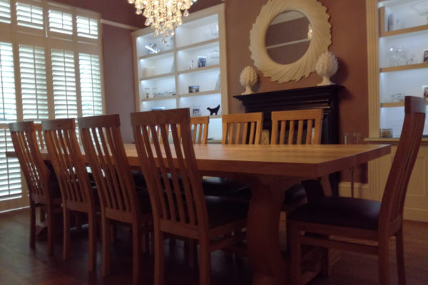 Bespoke dining table and handmade chairs Liverpool