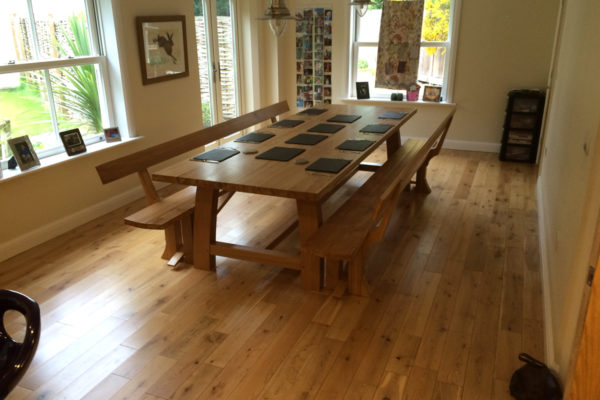 Handmade oak table for a Berkshire dining room