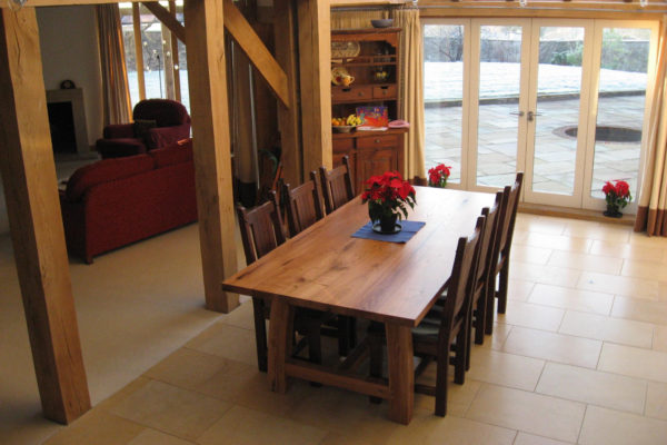Handmade table in a timber framed house
