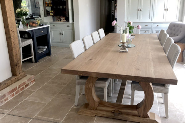 Handmade oak refectory table for an Essex client