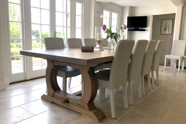 Handmade table with curved base for an Essex client