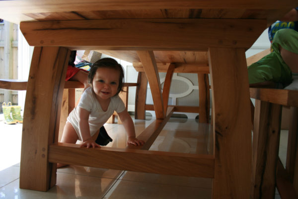 Bespoke oak dining table base