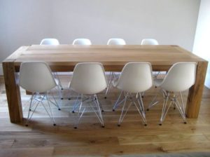 Bespoke dining table with Eames chairs for a Surrey client