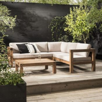 Outdoor oak sofa with cusions