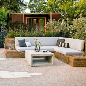 Outdoor bench seating with cushions