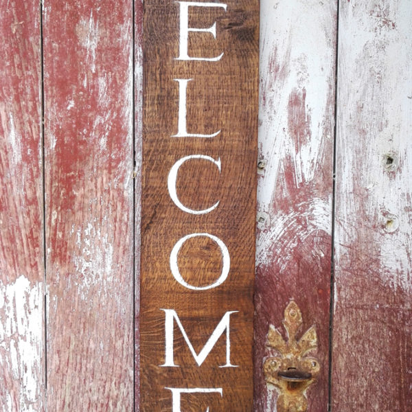 Rustic oak welcome sign