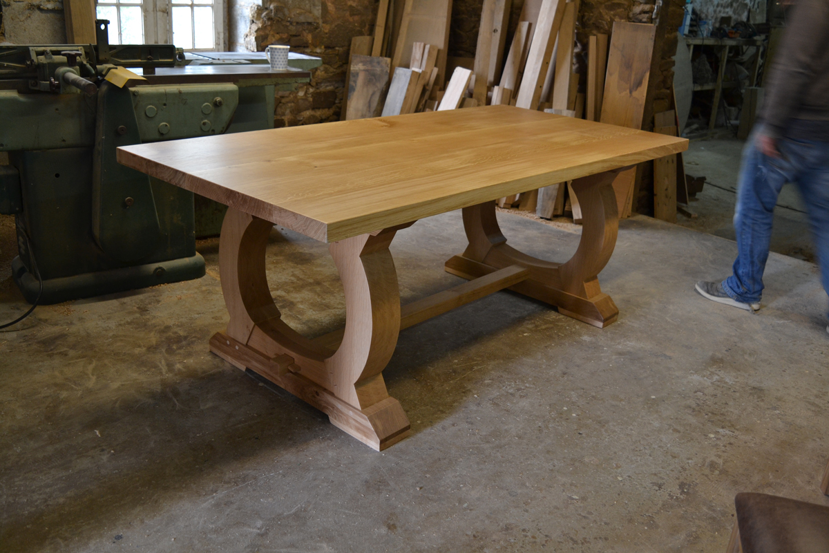 Handmade Oak Dining Table with Curved Base  Bespoke Refectory Table