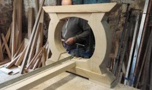 Bespoke table base in progress in the workshop