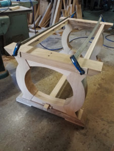 Bespoke table base at the clamping and pegging stage