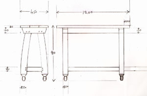 Scale drawing for bespoke console table