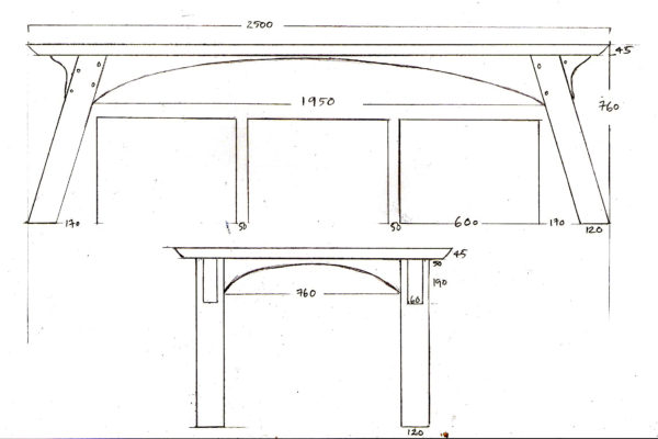 Scale drawings for a bespoke table