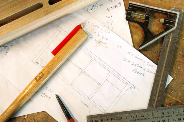 Bespoke furniture makers drawings and tools