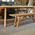 8 seat modern oak table and bench