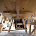 Bespoke oak table underside