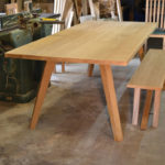 Modern oak dining table and bench