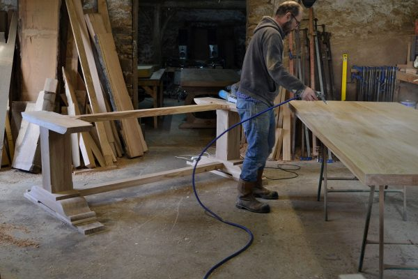 French oak refectory table in progress
