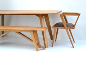 Chiswick oak kitchen table and bench by Makers Bespoke Furniture