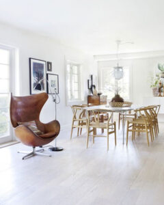 Arne Jacobsen egg chair in a Scandinavian inspired dining room