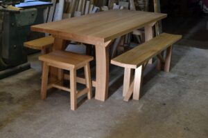 Oak kitchen table with benches and stools